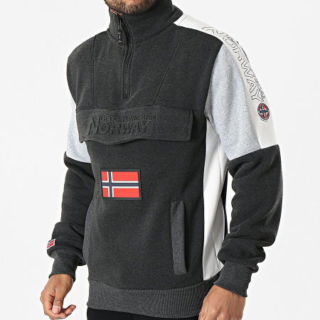 Geographical Norway - Sweat Col Zippé Fagostino Gris Anthracite Chiné
