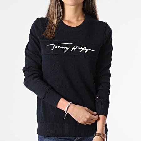 Tommy Hilfiger - Pull Femme Tommy 0445 Bleu Marine
