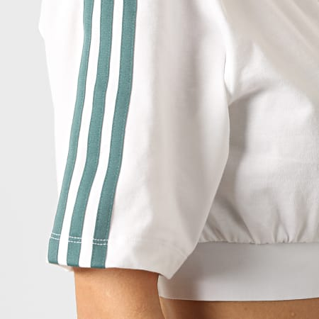 adidas - Tee Shirt Femme Crop A Bandes GT8474 Blanc