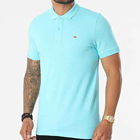 Tommy Jeans - Polo Manches Courtes Classic Solid Stretch 9439 Bleu Turquoise