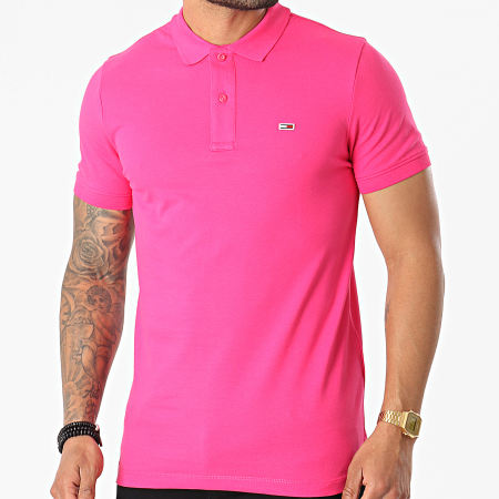 Tommy Jeans - Polo Manches Courtes Classic Solid Stretch 9439 Rose Fushia