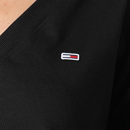Tommy Jeans - Sweat Crewneck Crop Femme Soft V Neck 9801 Noir