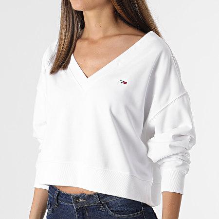 Tommy Jeans - Sweat Crewneck Crop Femme Soft V Neck 9801 Blanc