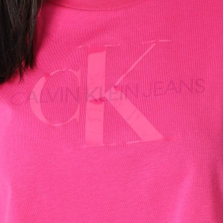 Calvin Klein Jeans - Tee Shirt Femme Tonal Monogram 6347 Rose Fuchsia