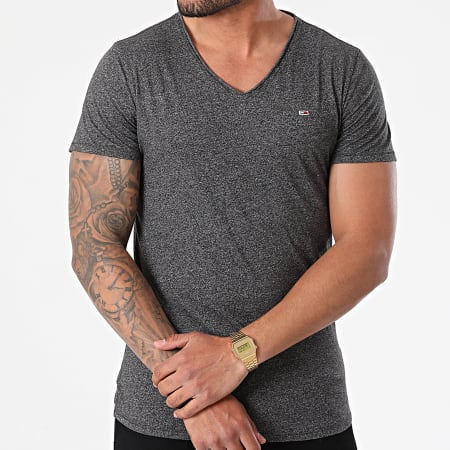 Tommy Jeans - Tee Shirt Oversize Col V Slim Jaspe 9587 Gris Anthracite Chiné