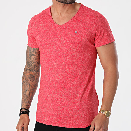 Tommy Jeans - Tee Shirt Oversize Col V Slim Jaspe 9587 Rouge Chiné