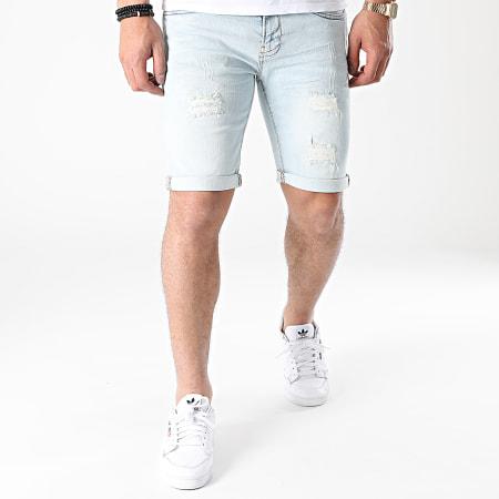 Indicode Jeans - Short Jean Slim Kaden Holes Bleu Wash