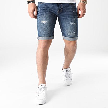 Indicode Jeans - Short Jean Slim Kaden Holes Bleu Denim