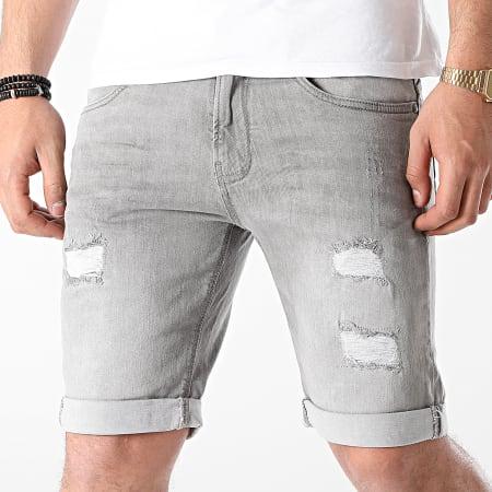 Indicode Jeans - Short Jean Slim Kaden Holes Gris