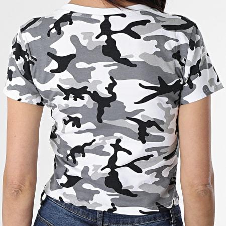 Urban Classics - Tee Shirt Crop Femme TB2755 Blanc Gris Camouflage