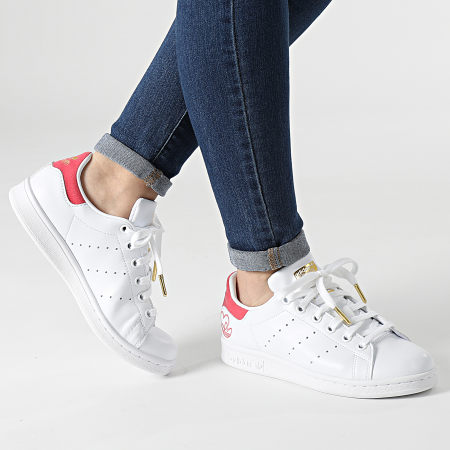 adidas - Baskets Femme Stan Smith G55666 Cloud White Hazy Rose Gold Metallic