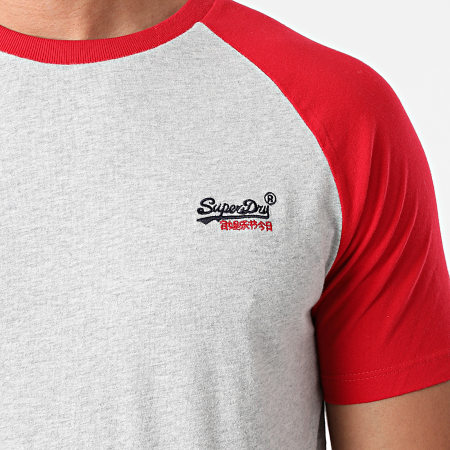 Superdry - Tee Shirt OL Baseball M1010864A Gris Chiné Rouge
