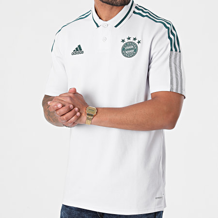 adidas - Polo Manches Courtes A Bandes FC Bayern GK8629 Blanc Vert