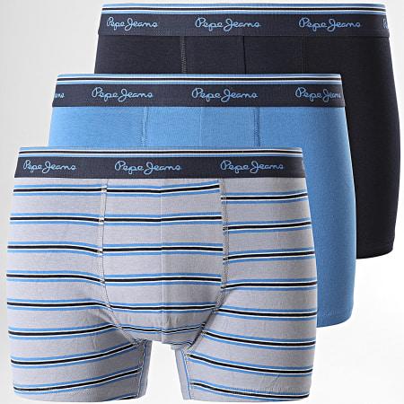 Pepe Jeans - Lot De 3 Boxers PMU10700 Bleu Marine Bleu Gris