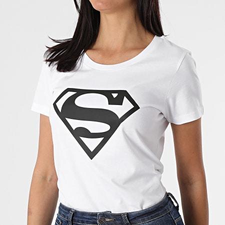 Superman - Tee Shirt Femme Big Logo Blanc Noir