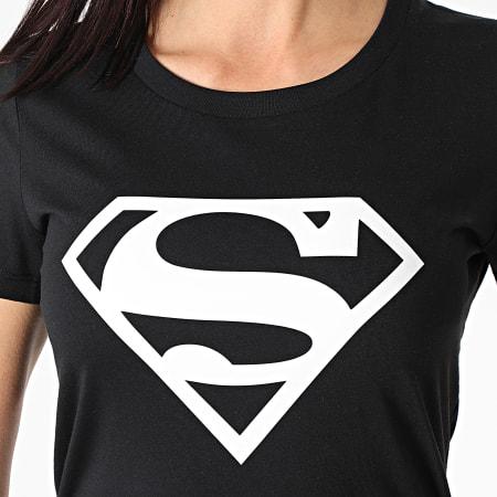 Superman - Tee Shirt Femme Big Logo Noir Blanc