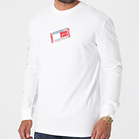 Tommy Jeans - Tee Shirt Manches Longues Small Flag Box Logo 0240 Blanc