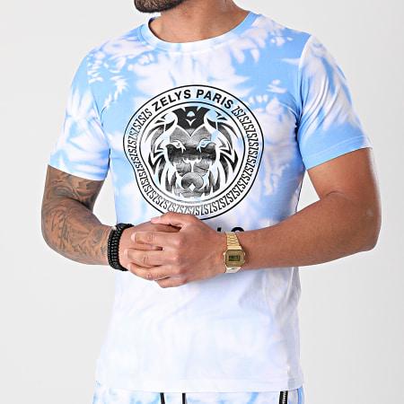Zelys Paris - Ensemble Tee Shirt Short Jogging Tie Dye Wash Bleu Blanc
