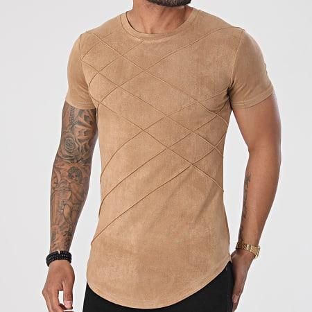 John H - Tee Shirt Oversize T103 Camel Clair