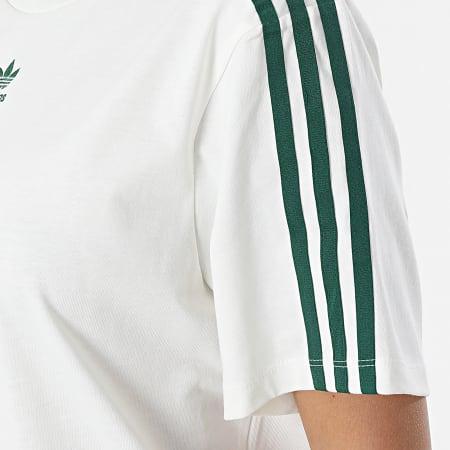 adidas - Robe Tee Shirt A Bandes Femme H56457 Blanc Cassé Vert