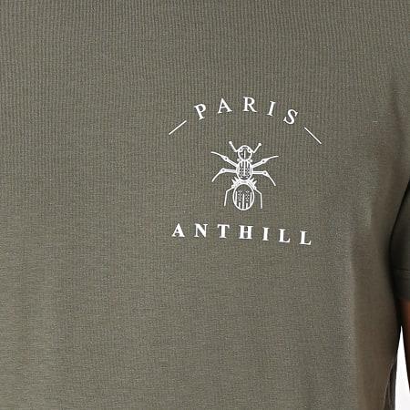 Anthill - Tee Shirt Chest Logo Vert Kaki Blanc