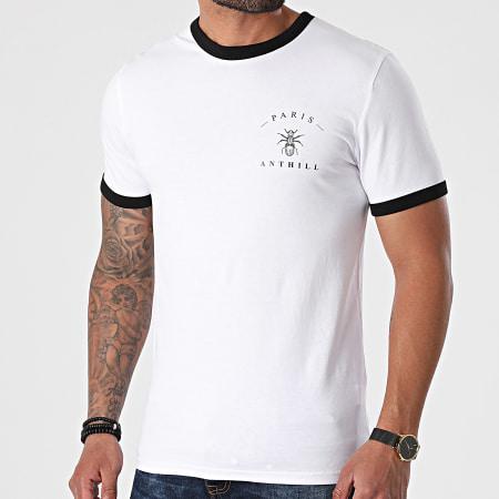 Anthill - Tee Shirt Ringer Chest Logo Blanc Noir