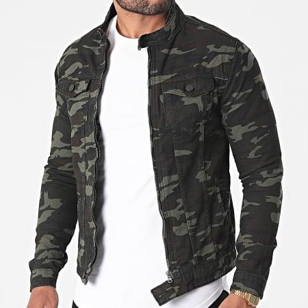 Black Industry - Veste Jean 1015 Vert Kaki Camouflage