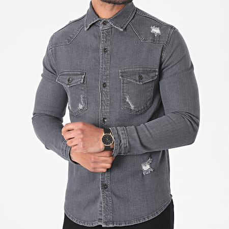Black Industry - Chemise Jean 6318 Gris Anthracite