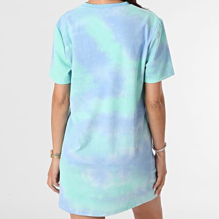Sixth June - Robe Tee Shirt Femme Tie Dye W4302VDR Bleu Vert