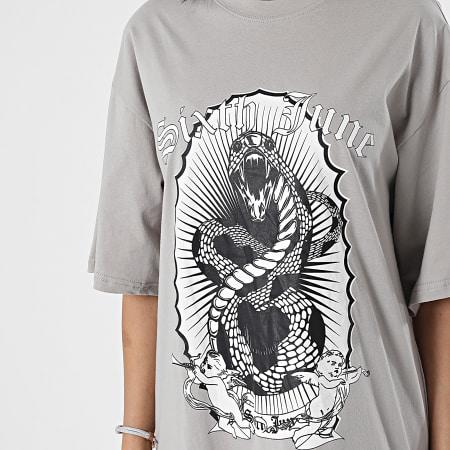 Sixth June - Robe Tee Shirt Femme Snake Gris