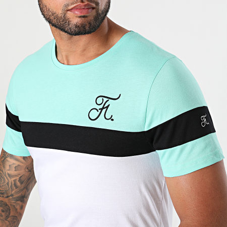 Final Club - Tee Shirt Tricolore Avec Broderie 670 Blanc Noir Bleu Pastel