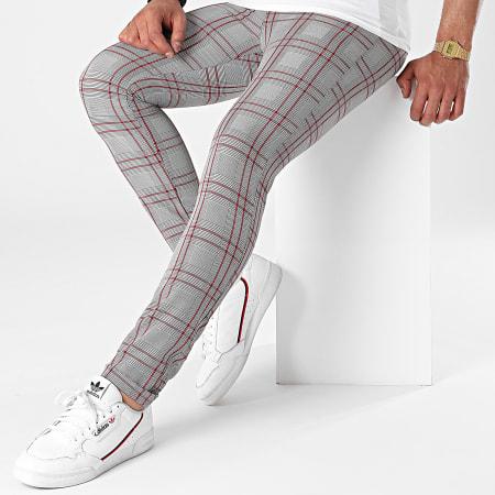Mackten - Pantalon A Carreaux DJ505 Gris Rouge