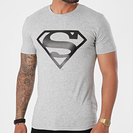 Superman - Tee Shirt Logo Gris Chiné Noir