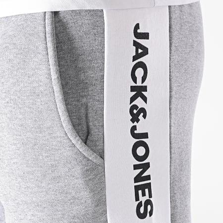 Jack And Jones - Short Jogging A Bandes Logo Blocking 12198008 Gris Chiné
