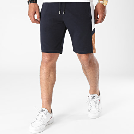 LBO - Short Jogging A Bandes Sport 1755 Bleu Marine