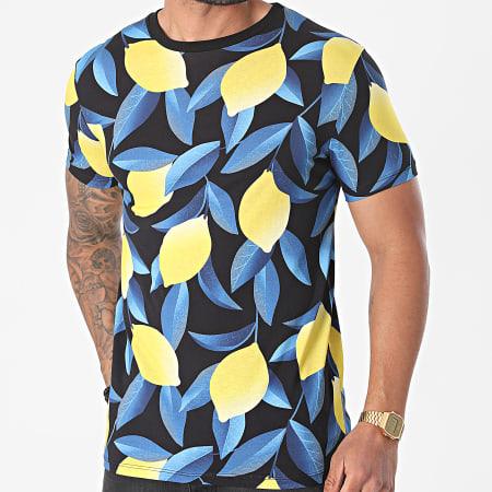 Uniplay - Tee Shirt UY639 Noir Bleu Jaune Floral