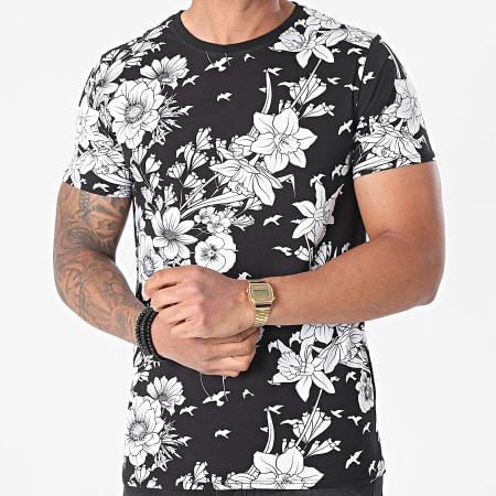 Uniplay - Tee Shirt T765 Noir Blanc Floral