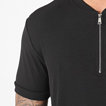 Frilivin - Tee Shirt Col Zippé U5399 Noir