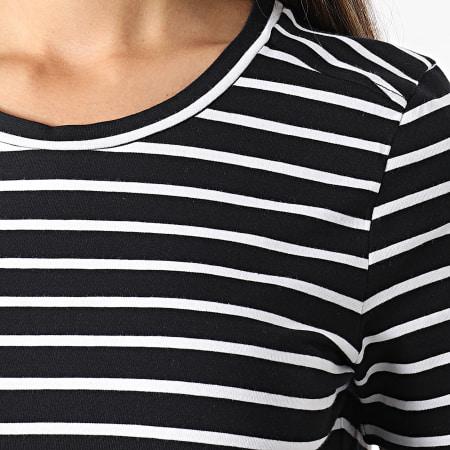 Noisy May - Robe Tee Shirt Femme A Rayures Simma Noir Blanc