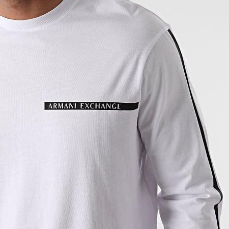 Armani Exchange - Tee Shirt Manches Longues A Bandes 3KZTFE-ZJH4Z Blanc