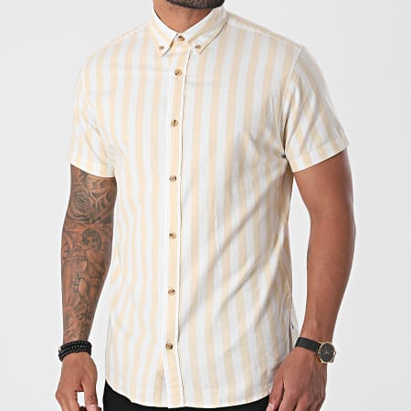 Jack And Jones - Chemise Manches Courtes A Rayures Tom Blanc Beige
