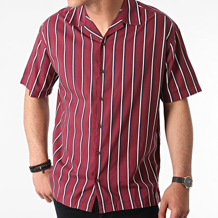 Jack And Jones - Chemise Manches Courtes A Rayures Stripe Resort Bordeaux