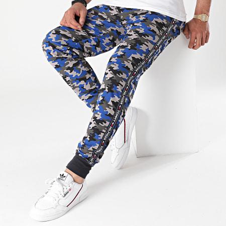 Tommy Hilfiger - Pantalon Jogging A Bandes 2154 Gris Bleu Roi Camouflage