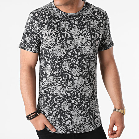 Uniplay - Tee Shirt Oversize T792 Gris Anthracite Chiné Floral
