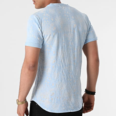 Uniplay - Tee Shirt Oversize T792 Bleu Clair Floral