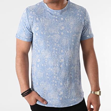 Uniplay - Tee Shirt Oversize T792 Bleu Floral