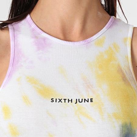 Sixth June - Robe Débardeur Femme Tie Dye W32921EDR Blanc Jaune Violet