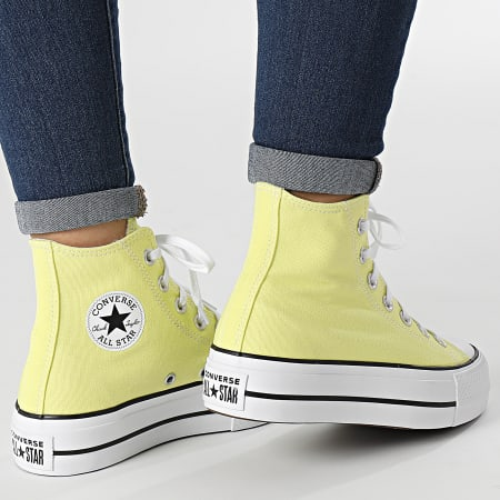 Converse - Baskets Femme All Stars Lift Hi 570434 Light Zitron White Black