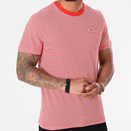 Tommy Jeans - Tee Shirt Poche A Rayures Stripe Pocket 0884 Orange Blanc