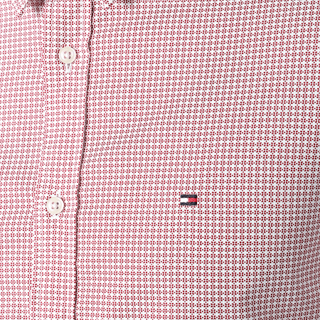 Tommy Hilfiger - Chemise Manches Courtes Slim Natural Soft Print 8871 Rouge